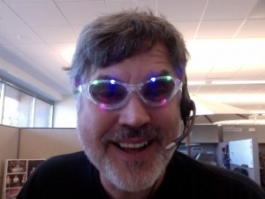 John Troyer in his normal podcasting gear