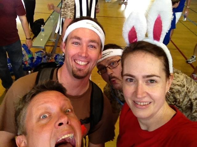 Pure blackmail fodder - Scott photobombing Amy and the Cloud Bunnies at the v0dgeball charity dodgeball game at VMworld